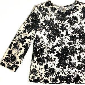 *3/$45* White Stag Sparkly Floral Holiday Top
